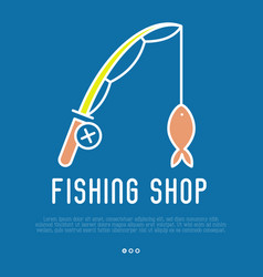 logo for fishing shop with fishing rod vector image