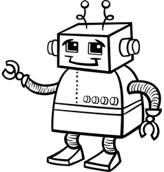 Robot cartoon for coloring vector