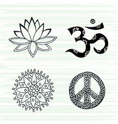 Culture symbols set lotus mandala mantra om and vector