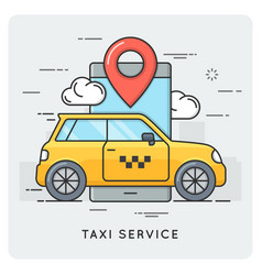 taxi service thin line concept vector image