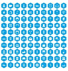 100 smart house icons set blue vector
