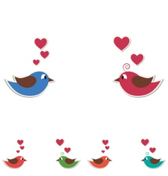 Two cute birds keep the word love isolated on vector