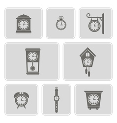 Set of monochrome icons with clock vector
