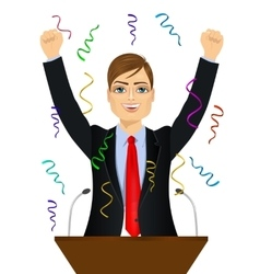 Politician man celebrating with fists up at podium vector