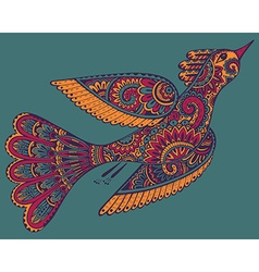 Hand drawn of ornamental fancy bird vector