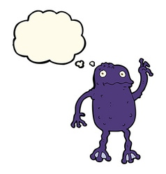 Cartoon poisonous frog with thought bubble vector
