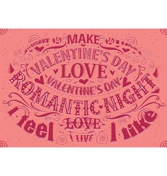 Valentines day postcard with lettering vector