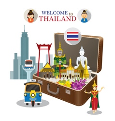 Suitcase with Thailand Landmark vector image