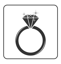 Diamond engagement ring icon vector