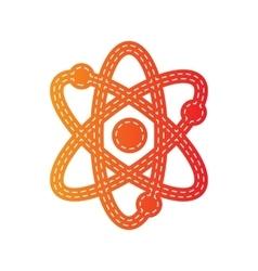 Atom sign  orange applique isolated vector