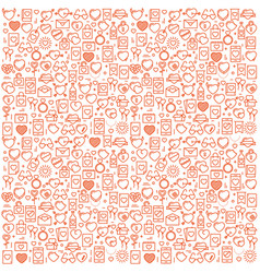 background with icons and hearts vector image vector image