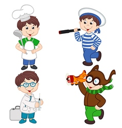 Boy in various professions cook sailor doctor vector