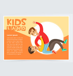 boy lying on the floor being beaten by a teenager vector image vector image