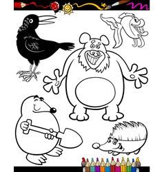 Cartoon animals for coloring book vector