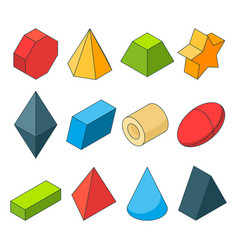 Colorful isometric pictures of geometry shapes vector