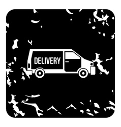 Delivery van icon grunge style vector