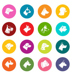 Dog icons many colors set vector