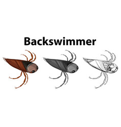 Doodle character for backswimmer bug vector