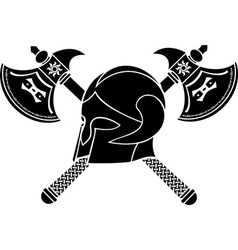 fantasy helmet with axes stencil vector image