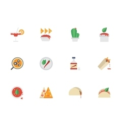 Flat color design mexican cuisine icons vector