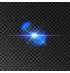 Flickering blue light flash of shining star vector