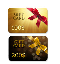 golden gift cards vector image