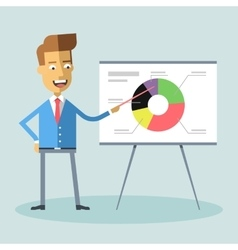 Handsome manager gives presentation shows diagram vector image vector image