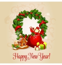 Happy new year greeting card or poster design vector