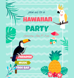 hawaiian bright invitation with toucan vector image vector image