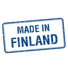 Made in finland blue square isolated stamp vector