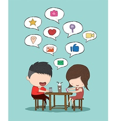Male and girl teens playing vector image