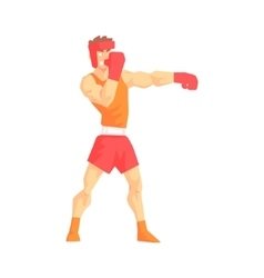 Man in boxing gloves and helmet box martial arts vector
