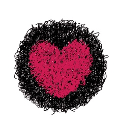 Red heart in black circle vector