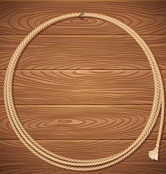 Rope lasso on wood background vector image vector image
