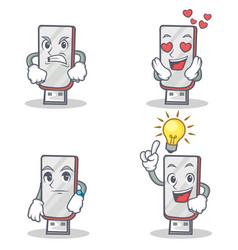 Set of flashdisk character with angry love waiting vector