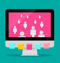 social media symbol computer with paper cut vector image vector image