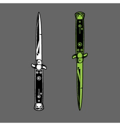 Switchblade knife dagger duo vector image