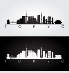 tokyo japan skyline and landmarks silhouette vector image vector image