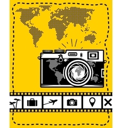 Travel set of camera map and travel icons vector image vector image