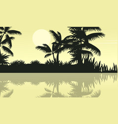 Tree and lake on jungle scenery silhouette vector