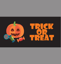 trick or treat sign on halloween themed poster vector image vector image