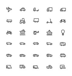 Vehicles Line Icons 1 vector image