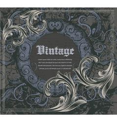 vintage frame with engraved floral vector image vector image