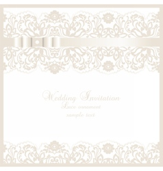 Wedding Invitation card with lace floral ornament vector image