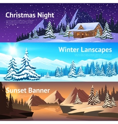 Winter landscape horisontal banners vector
