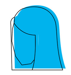 woman head faceless with straight long hair blue vector image