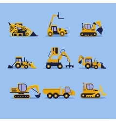 Yellow tractors vector