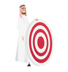Young muslim businessman and dart board vector