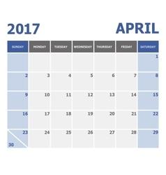 2017 april calendar week starts on sunday vector
