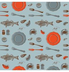 Sea food Seamless background vector image